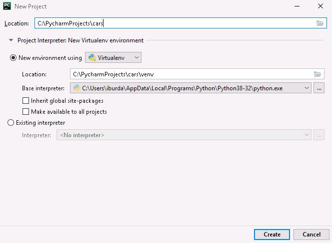 PyCharm nowy projekt venv do pylint