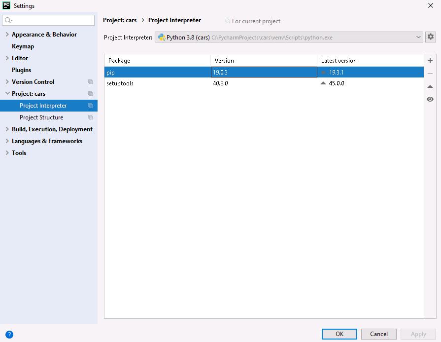 PyCharm interpreter i lista pakietów