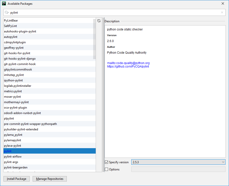 PyCharm instalacja pylint poprzez dostępne pakiety